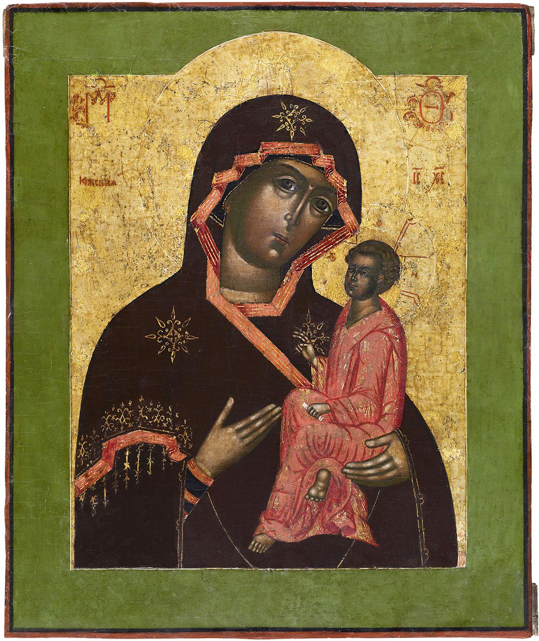 Икона «Богоматерь Югская». XVIII в. Дерево, левкас; темпера, золочение